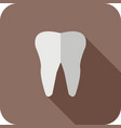 tooth flat long shadow icon vector image vector image