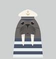 walrus captain with sailor vector image vector image