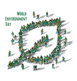 world environment day sign leaf people isolate vector image vector image