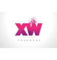 xw x w letter logo with pink purple color and vector image vector image