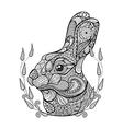 Zentangle stylized head of rabbit in wreath Hand vector image