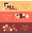 Horizontal banner set with chocolate sweets ice vector image