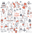set with cute christmas animals vector image