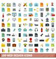 100 web design icons set flat style vector image