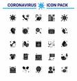 25 solid glyph coronavirus covid19 icon pack vector image vector image