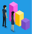 3d isometric office workers looking at growing or vector image vector image