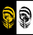 abstract leaves logo in black and yellow colors vector image vector image