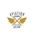 aviation pilot legend icon airplane vector image vector image