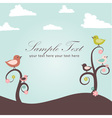birds and flowers card vector image vector image