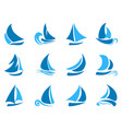 blue abstract sailboat icon vector image vector image