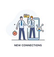 businessmen shake hands with each other virtual vector image vector image
