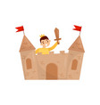 cheerful boy playing in castle made of cardboard vector image