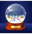 Christmas winter landscape globe vector image