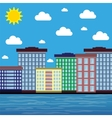 city by the sea on a sunny day vector image vector image