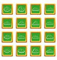 clouds icons set green vector image vector image