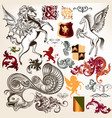 collection of heraldic decorative elements vector image vector image