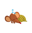 cute brown mouse sleeping on the floor wrapped in vector image vector image