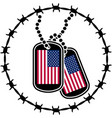 dog tags barbed wire and usa flags vector image