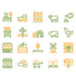 farming color linear icons set vector image vector image