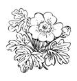 Floral bush retro black on white hand drawn vector image