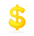 golden sign dollar with one vertical line vector image vector image