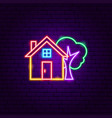 home tree neon sign vector image vector image