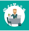 insurance agent sitting at a desk vector image vector image