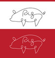 line design silhouette of pig on white background vector image vector image