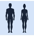 Man and woman standing silhouettes vector image vector image
