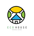original emblem with eco house sun and vector image vector image