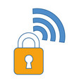 padlock with wifi signal vector image