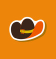 paper sticker fashion clothes cowboy hat vector image