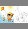 playing kite with cute animals cartoon coloring