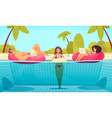 pool beach relaxing composition vector image vector image