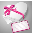 realistic blank white heart shape box with ribbon vector image vector image