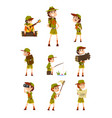scouting boys set boy scouts with hiking vector image