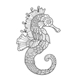 Sea horse coloring book for adults vector image