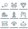set of 9 happy new year icons includes brilliant vector image vector image
