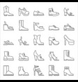 shoes footwear outline line stroke icons vector image vector image