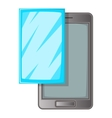 Smartphone with protector film icon cartoon style vector image vector image