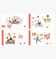 speed landing page template set characters riding vector image
