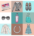 stylish fashion set of womans clothes accessories vector image vector image