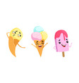 sweet ice cream characters sending kiss and waving vector image