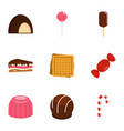 sweets icon set flat style vector image vector image