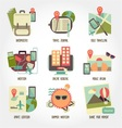Traveling flat design icon set vector image