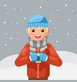 winter hot drink tea coffee young man cup flat vector image vector image