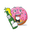 with beer donut mascot cartoon style vector image vector image