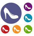 women shoe with heels icons set vector image vector image