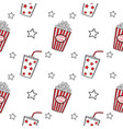 popcorn and drink doodle seamless vector image