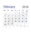 2018 funny original february creative calendar vector image vector image